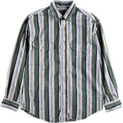 Men L vintage /wbf8422 in the 80~90 generation made in Eddie Bauer Eddie Bauer multi-stripe long sleeves light flannel shirt USA