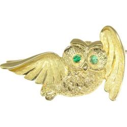 Owl motif 2P, emerald broach pin-tuck /K18YG/750-6.8g/EM0.04ct/ yellow gold X green ■ 284652