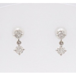 PT900 platinum pierced earrings diamond 0.25*2 used jewelry ★★ giftwrapping for free