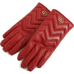 Beautiful article, Gucci GG マーモント Chevron leather glove gloves /477965/ dark red /GUCCI ■ 283276