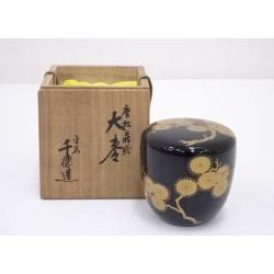 千穂造漆塗唐松蒔絵大棗 [tea ceremony / tea set / tea service set / curio / tea / jujube]