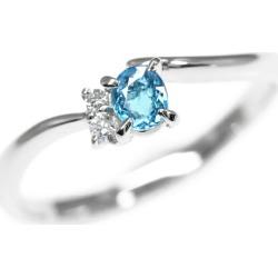 Simple Paraiba tourmaline diamond ring, Pt900-3.3g/PT0.202ct/FD: 0.03ct/ center jewel research institute /14 /#54/ blue ■ 290977