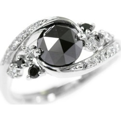 Black white .2 color diamond ring, ring /K18WG/750-6.0g/1.41ct/FD: 0.25ct/ center jewel research institute sorting /14 /#54/ white gold ■ 290595