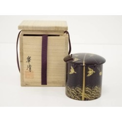 峯清造溜塗鳴子蒔絵金輪寺棗 [tea ceremony / tea set / tea service set / curio / tea / jujube]