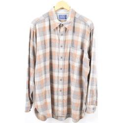 Men L vintage /wbi5989 in the 70~80 generation made in pen Dalton PENDLETON checked pattern wool button-down shirt USA