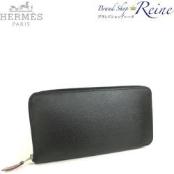 Hermes (HERMES) アザップシルクインヴォーエプソンブラック C 刻 round fastener long wallet