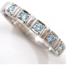 Ambrose PT900 ring 14 blue diamond 0.21 used jewelry ★★ giftwrapping for free