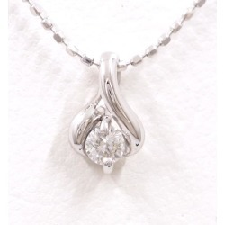 K18 18-karat gold WG white gold necklace diamond 0.1 used jewelry ★★ giftwrapping for free