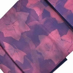 Recycling Nagoya style sash newly made pure silk fabrics 9 sun なごやおび purple system colored leaves pattern recycling obi mm0152b