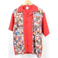 Men M vintage pattern shirt /wbb4266 made in TUTTI cat pattern whole pattern back embroidery bowling shirt USA