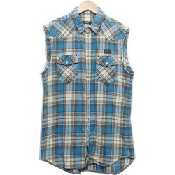 UNDER COVER under cover no sleeve tartan check shirt ivory x blue size: 2 (under cover)