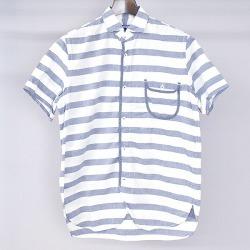 JUNYA WATANABE COMME des GARCONS MAN ジュンヤワタナベコムデギャルソン 11SS cotton linen piping horizontal stripes short sleeves shirt men blue S
