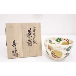 京焼上山善峰造仁清写六瓢茶碗 [Japanese dishes / Matcha porcelain bowl / Matcha bowl / tea ceremony / tea set / tea service set / curio / tea]