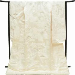 Recycling speculation pure silk fabrics one piece of article / recycling kimono / 花嫁衣裳婚礼白無垢裄 68.5cm L dress length 192cm L 白色系能衣貝桶吉祥文様特品 ★★★★ mm1729b