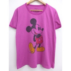 Spring clothes summer clothing summer clothes Disney DISNEY Mickey MICKEY MOUSE gromwell system purple ringer in the spring and summer an old clothes Lady's T-shirt for spring I show cute casual lady's fashion fashion