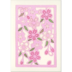 Card multi-purpose paper-cutting cherry tree GT-141h 竹内一永中紙付 comes in spring; a greeting card active corporation (ZR)