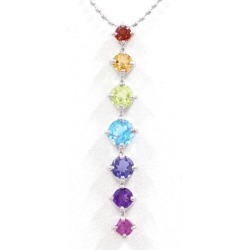 K18 18-karat gold WG white gold necklace garnet citrine peridot blue topaz iolite amethyst rhodolite garnet used jewelry ★★ giftwrapping for free