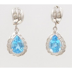 PT900 platinum pierced earrings blue topaz used jewelry ★★ giftwrapping for free