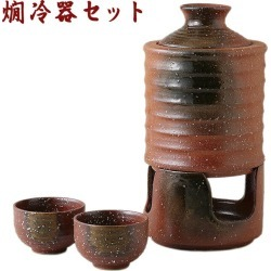 Sake bottle made of three points of bottle and cup sake left over warmed sake device set bonfire 42-2-43 V30 earthenware