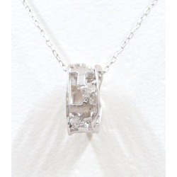 K10 10 gold WG white gold necklace diamond 0.07 used jewelry ★★ giftwrapping for free