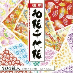 (set for duties) 300 pieces of Japanese paper Japanese paper with colored figures 018034 case for the Toyo virtue