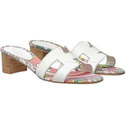 HERMES Hermes Lady's H motif sandals or JIS four bulldog rainbow #37 white (white) calf X cotton canvas new article (HERMES Lady's H-motif Sandal OASIS Fable Rainbow #37 White Calf/Cotton canvas)