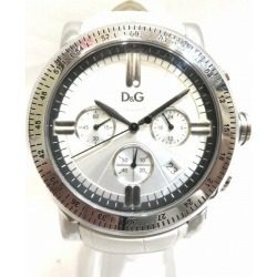 Dolce & Gabbana DW0679 silver clockface quartz leather belt watch men ★★