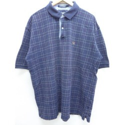 Old clothes ポロシャツトミーヒルフィガー TOMMY HILFIGER logo fawn big size dark blue navy horizontal stripe XL size used men short sleeves tops