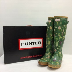 HUNTER hunter rain boots original Thor shoes boots waterproofing floral design green whole pattern Lady's 6 Mikunigaoka store 389533 RM1221T