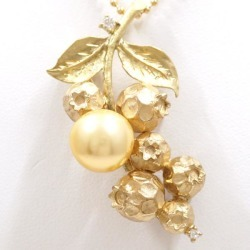 K18 18-karat gold YG yellow gold PG necklace broach pearl diamond 0.08 card type differentiation book used jewelry ★★ giftwrapping for free
