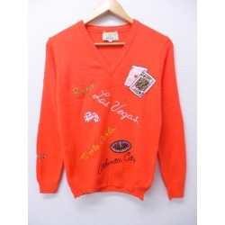 Old clothes Lady's sweater Las Vegas dice cards casino embroidery orange used knit tops