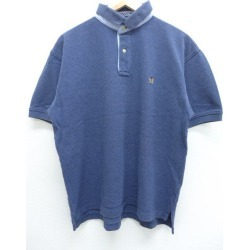 Old clothes ポロシャツトミーヒルフィガー TOMMY HILFIGER logo fawn dark blue navy XL size used men short sleeves tops