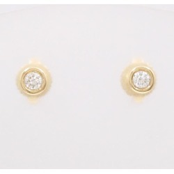 Tiffany K18YG pierced earrings diamond box bag used jewelry ★★ giftwrapping for free