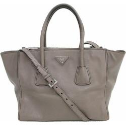 Take PRADA (Prada) 2WAY Thoth long shoulder bag slant; pro-gray leather netshop