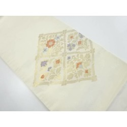 It is flower printed cotton design Nagoya style sash sect sou in 菱