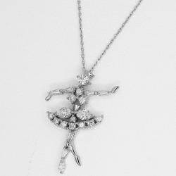 TASAKI Tasaki Shinju Dai Tasaki-ya (D0.68ct) ballerina pendant necklace PT platinum Lady's 31280423
