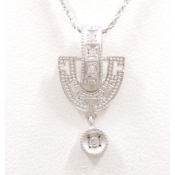 K18 18-karat gold WG white gold necklace diamond 0.05 used jewelry ★★ giftwrapping for free