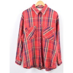 Men L vintage /wbh3129 in the 70s made in ST JOHN'S BAY tartan check long sleeves heavy flannel shirt USA