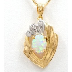 PT900 platinum K18YG necklace opal diamond used jewelry ★★ giftwrapping for free