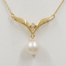 Mikimoto K18YG necklace pearl diamond used jewelry ★★ giftwrapping for free