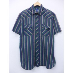 Old clothes short sleeves western shirt Wrangler Wrangler big size dark blue other navies stripe XL size used men tops