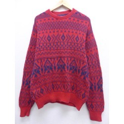 Red red medium size used men knit tops made in the United States in the old clothes long sleeves sweater 90s made in Ulrich WOOLRICH cotton crew neck round neck USA Autumn clothes men fashion casual stylish fashion in the fall and winter spring clothes