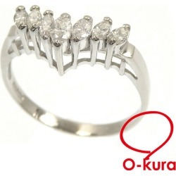 Deep-discount pawnshop exemption from taxation A2171100 having V-shaped diamond ring Lady's Pt900 11.5 0.35ct 2.8 g ring platinum diagram