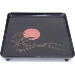 One set of antique black lacquer coat wave sunrise lacquer work foot every direction low dining table with