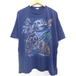 Old clothes T-shirt moon wolf bear big size dark blue navy XL size used men short sleeves