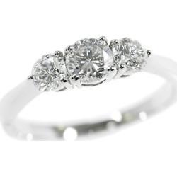 Round brilliant cut, 3P diamond ring, ring /Pt900-3.4g/ (0.228+0.382+0.206) 0.816ct/ center jewel research institute /12 /#52/F-G SI2 GOOD/ platinum color /i190803 ★■ 301982