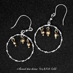 Pierced earrings K14WG K18YG white gold yellow gold metal combination fashion jewelry Lady's hook pierced earrings MA301371