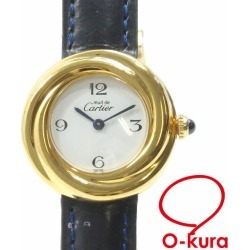 Cartier watch mast trinity Lady's quartz SV925 leather belt 2735 Cartier Cal Che battery type white clockface white deep-discount pawnshop watch exemption from taxation A4031291