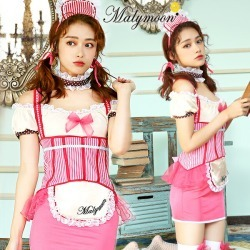 Costume play costume play dress Mary moon malymoon which \ American cute waitress ♪ / Halloween clothes costume play maid pink costume disguise lady's maid clothes sexy has a cute