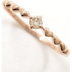 K10 10 gold PG pink Goldring 14.5 diamond used jewelry ★★ giftwrapping for free